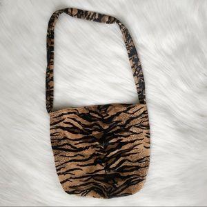 Handbags - Tiger Print Shoulder Bag Purse Brown Black Velvet